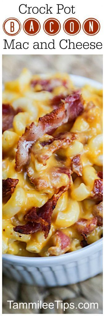 Crockpot Bacon Mac and Cheese Comfort Food Recipe your family will love! This easy crock pot slow cooker recipe is a family