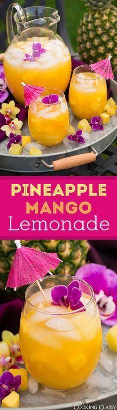 Pineapple Mango Lemonade – seriously refreshing on a hot summer day! Love this tropical twist on lemonade!
