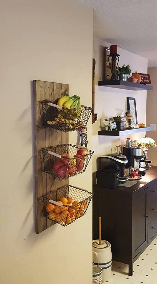 """What a great idea from Lori and her husband!   """"My husband made this fruit basket thing to free up some counter space. More room"""