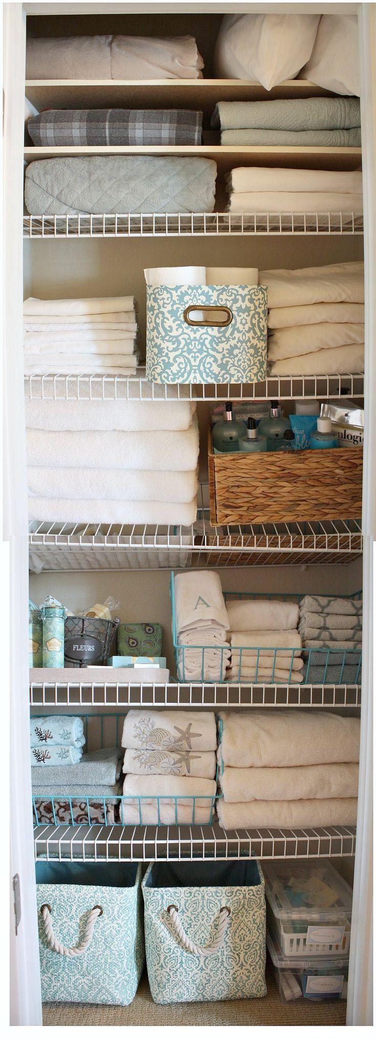 linen closet revamp with /kirklandshome/ pretty storage pieces.  The Creativity Exchange #loveyourlook