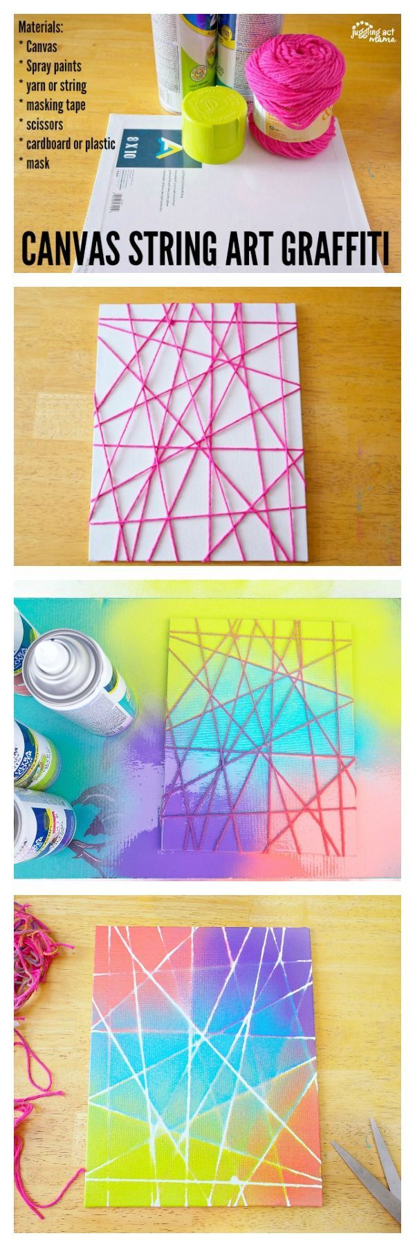 This Canvas String Art Graffiti project is fun for kids and adults alike. While this is a spray paint project, you can use