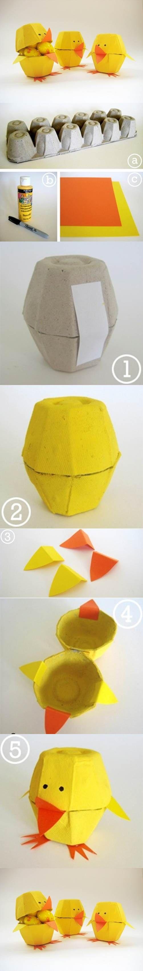 Egg Carton Craft – Lovely Chicks | iCreativeIdeas.com Like Us on Facebook == www.facebook.com/…