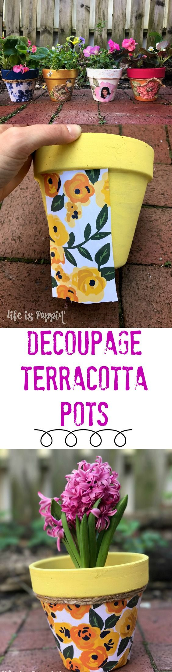 A quick tutorial of how to make these easy and inexpensive decoupage terracotta pots just in time for Mother's Day! Make Mom