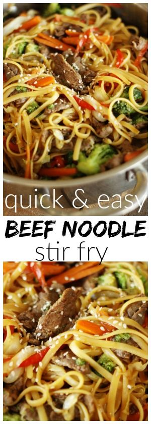 This beef noodle stir fry can be made in just 20 minutes!