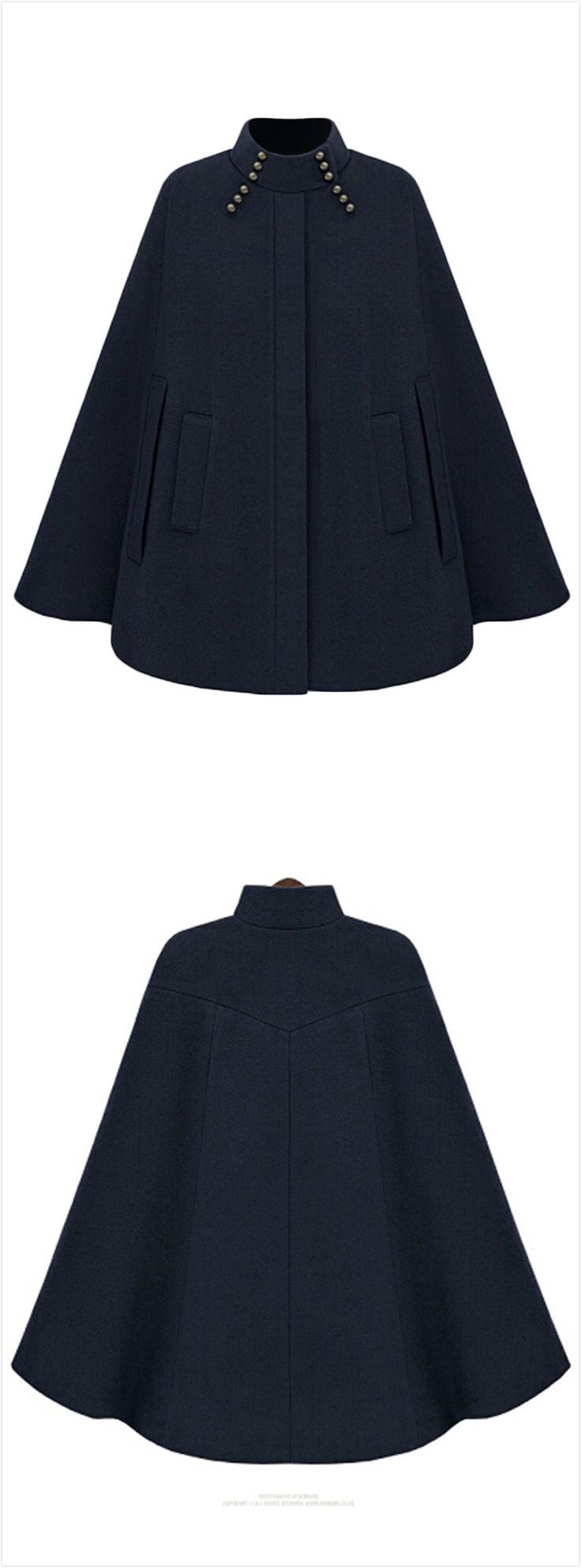 Womens Fashion Winter Warm Woolen Cape Cloak Coat