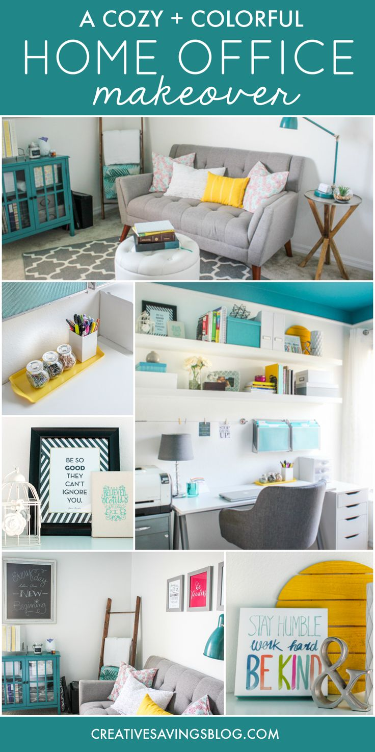 Need home office ideas? This cozy and colorful space fuels creativity with a functional yet stylish design. You won't mind getting