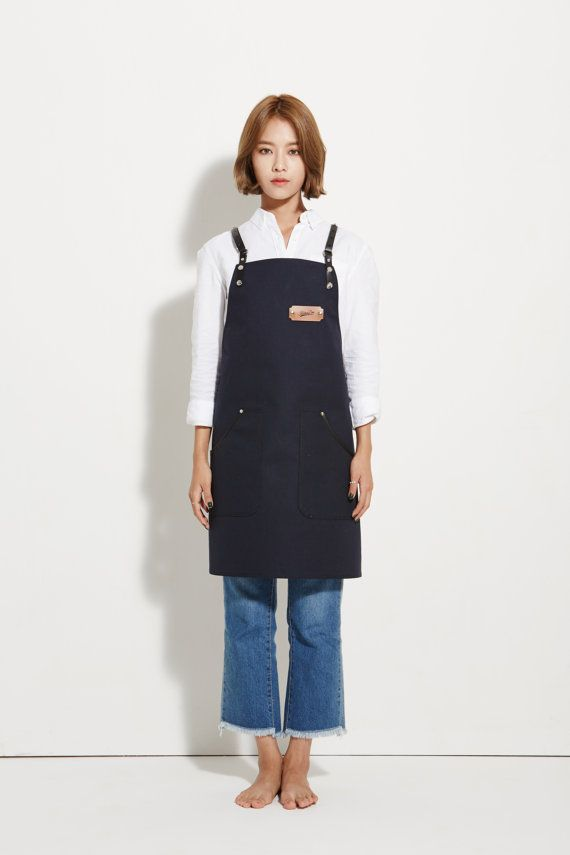 Barista Apron, Navy Canvas with Black Leather Strap Apron by KustomDuo  All KustomDuo aprons are one of a kind. The design is the