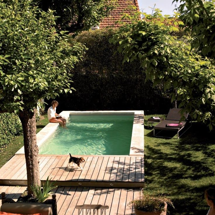 You dont have to have a big backyard to fit in a pool — and if you do have a big backyard, the pool doesnt have to take up the