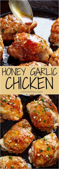 Sticky and Easy Honey Garlic Chicken made simple, with the most amazing 5-ingredient honey garlic sauce that is so good you'll