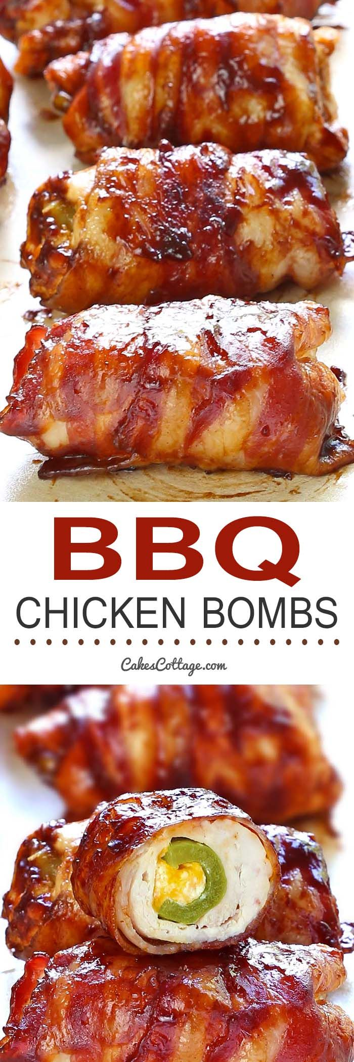 Get your tastebuds ready for a Bacon BBQ Chicken Bombs, it has chicken, cheese, bbq sauce, bacon and jalapeno…and yes, its as