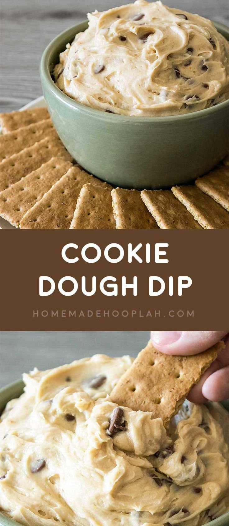 Cookie Dough Dip! Dazzle your guests by serving up dessert first with this ultra-creamy cookie dough dip with chocolate chips.
