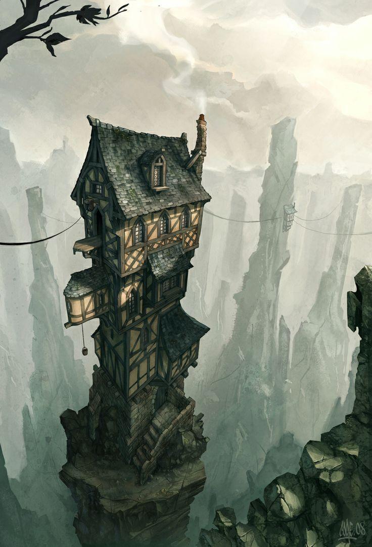 maison dans des piques rocheux