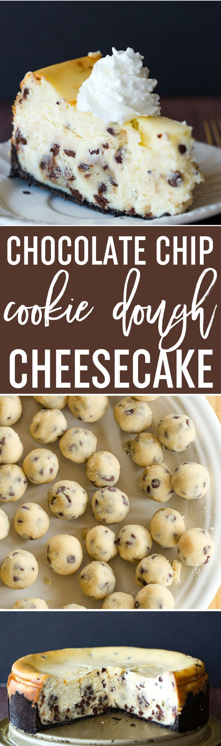 The best cheesecake recipe loaded with chunks of chocolate chip cookie dough and mini chocolate chips – a cookie dough lovers