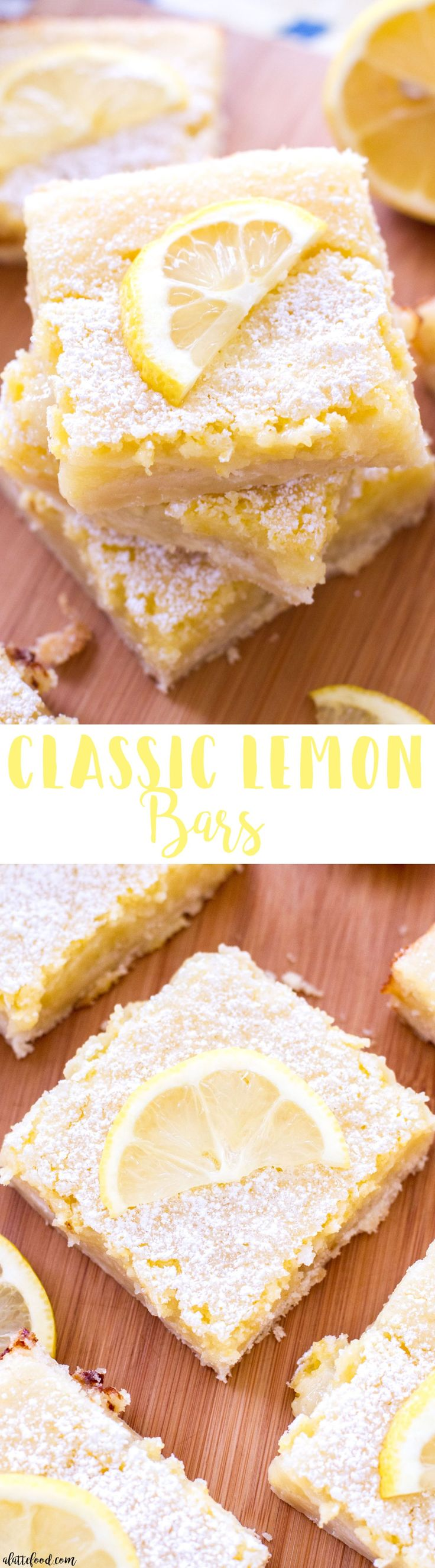 These classic homemade lemon bars have a tangy lemon filling and a sweet shortbread crust! These are the perfect Easter dessert,