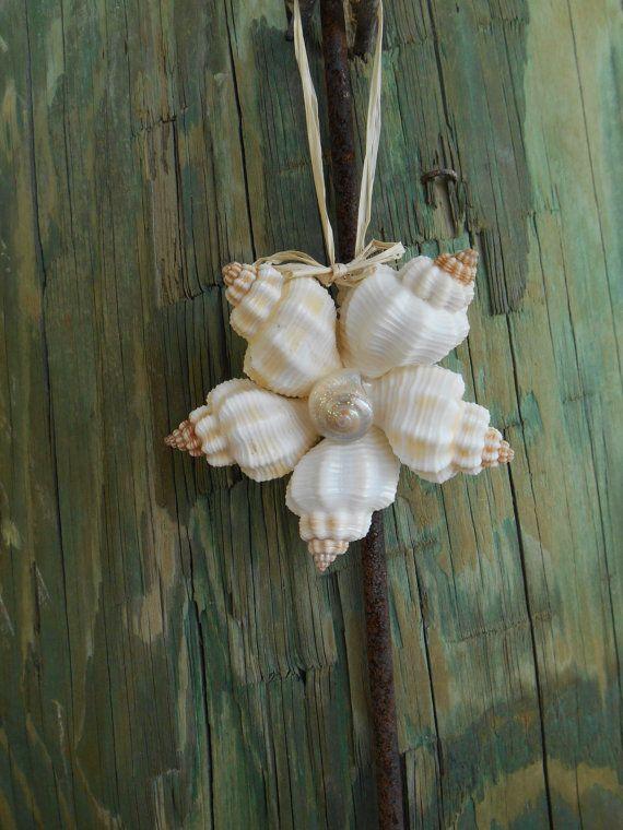 Seashell Christmas Ornament- Coastal Living style, Florida, Beach Christmas, Seashell flower ornament, Shell ornament – by