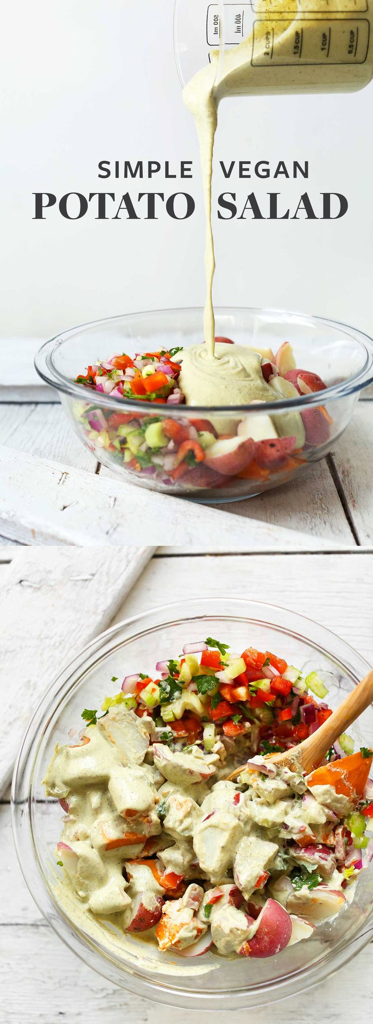 Easy, 10-ingredient vegan potato salad with red potatoes, fresh vegetables, and a tangy garlic-herb cashew sauce! A hearty,