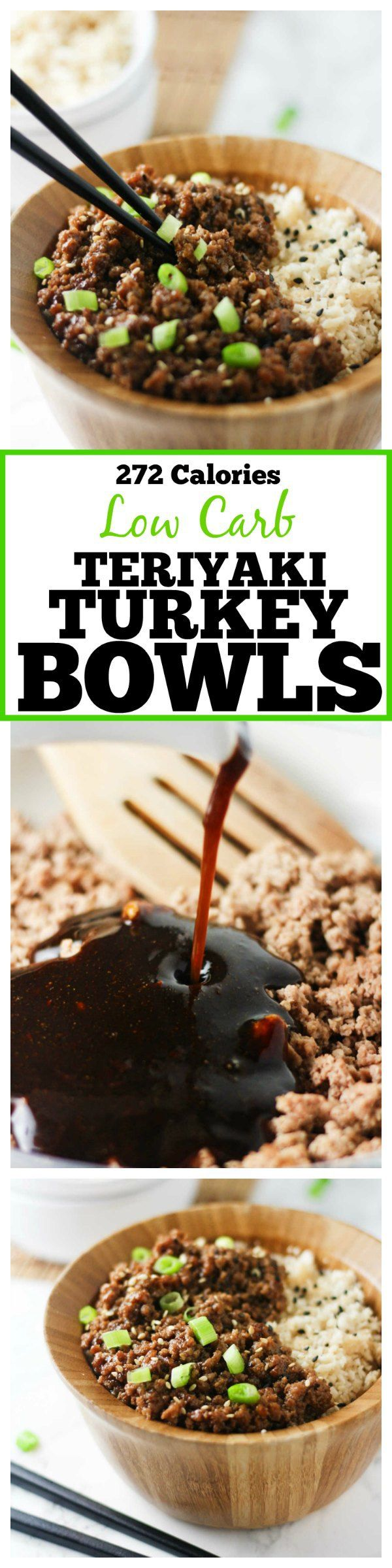These delicious and easy Low Carb Teriyaki Turkey Bowls are ready in under 30 minutes and packed with tons of flavor!