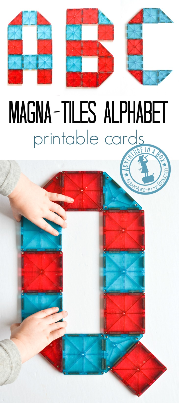 Magna-tiles Alphabet Printable Cards: Build the alphabet with magnetic tiles! Free printable cards of 26 letter designs for kids