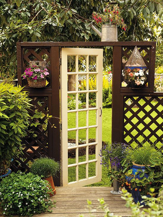 garden gate 2 7 Ways to Upscale Upcycled French Doors would be great for yard with chicken wire on it.