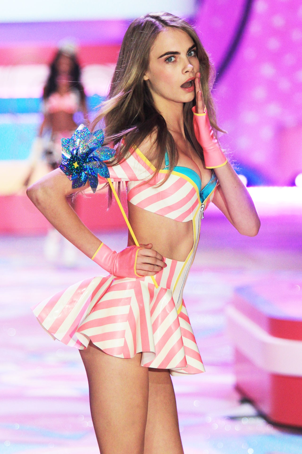Cara Delevingne makes her debut at the 2012 Victorias Secret Fashion show.