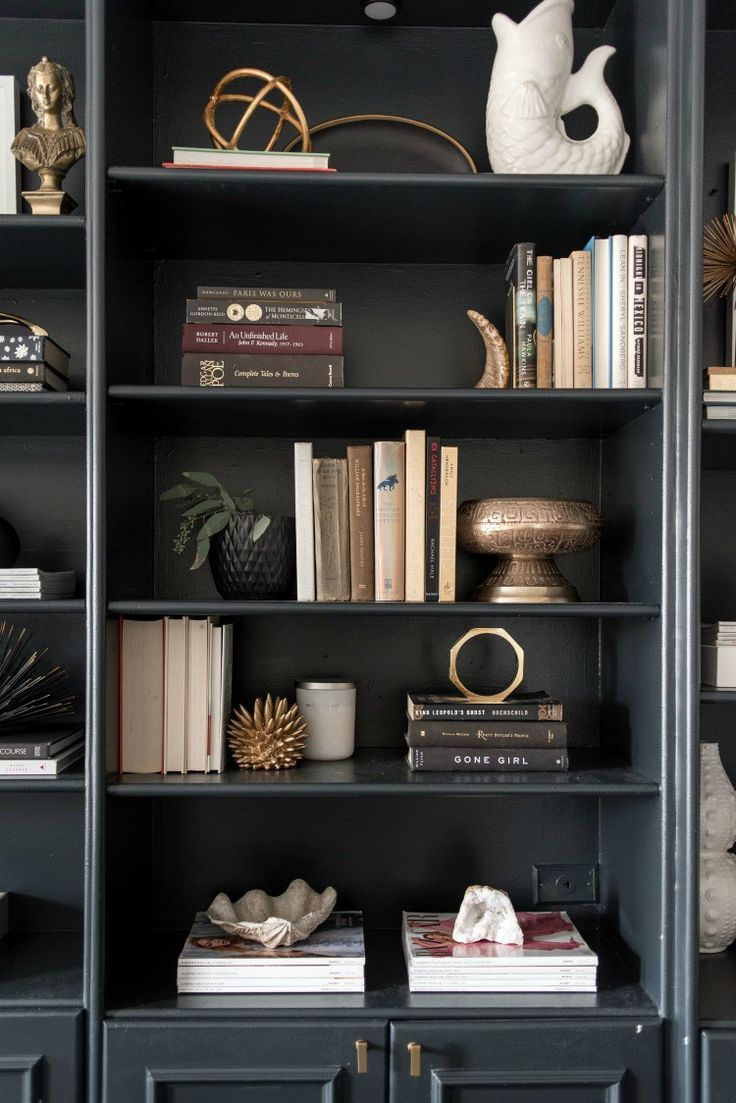 bookshelves styling inspiration – black bookshelves