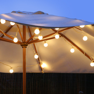 Bbq And Summer Party Lights –    20 LED low voltage festoon party lights with over 5 metres of black cable. These warm white LED