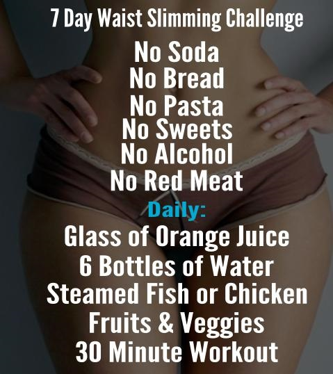 Checklist: 7 days waist slimming challenge    Every lady wants an hourglass figure but are you up for the challenge? This is an