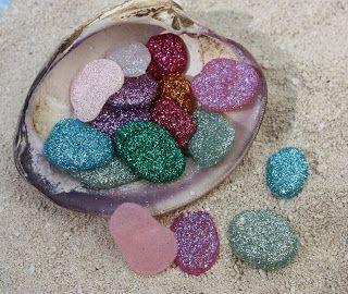 pixie stones – hot glue drop in glitter.  So simple!