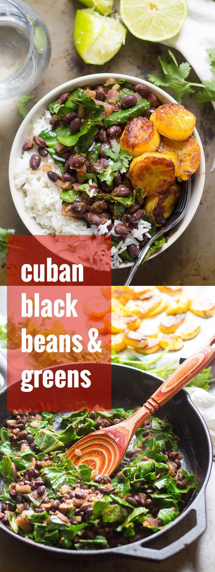 Black beans are simmered up with cumin and lime, then served over rice with sweet pan-fried plantains to make this mouthwatering
