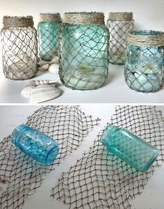 Decorate some useful jars with netting. If you're going for an ocean or nautical theme in your bathroom, these jars make the best