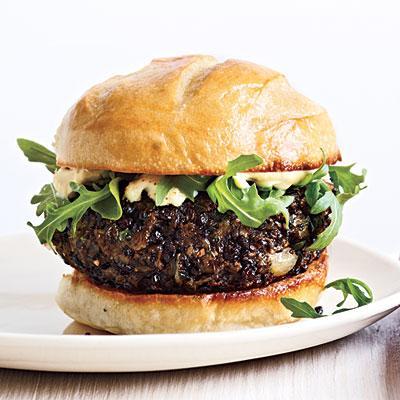 Mushroom Lentil Burgers   CookingLight.com [Skip the mayo and dairy and keep it clean.] :)) #mushroom_burger_recipes