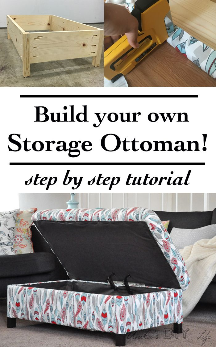 Make your own DIY upholstered storage ottoman – it is super easy! This tutorial shows you how – from building the frame to