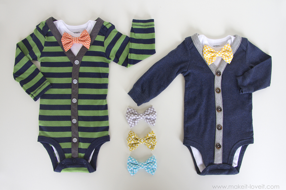 DIY Baby Boy Cardigan Onesie (with interchangeable bowties) — cutest of my life. If we ever have another boy