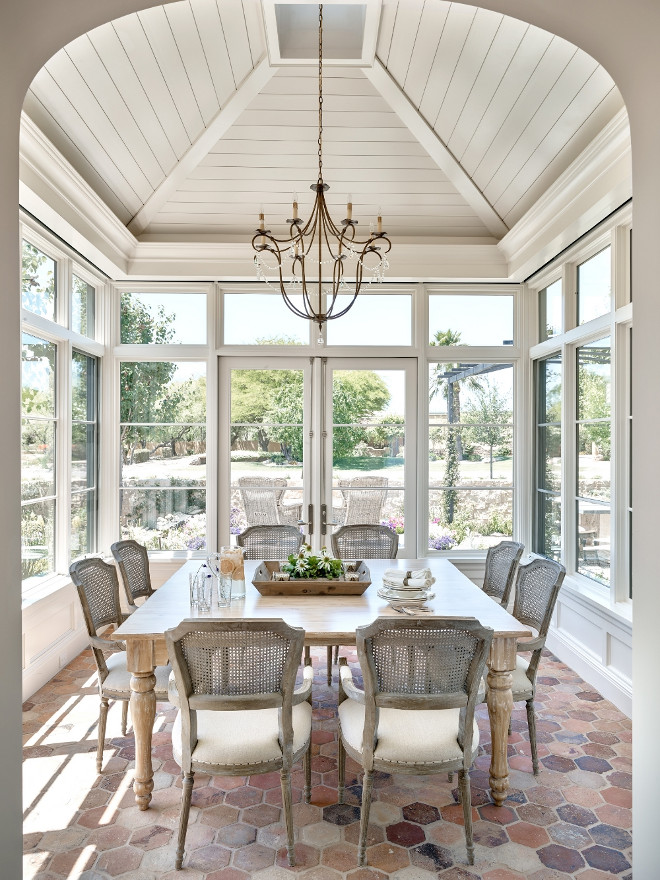 May we brunch here? Breakfast room with shiplap ceiling and beautiful light from the three sides of windows.