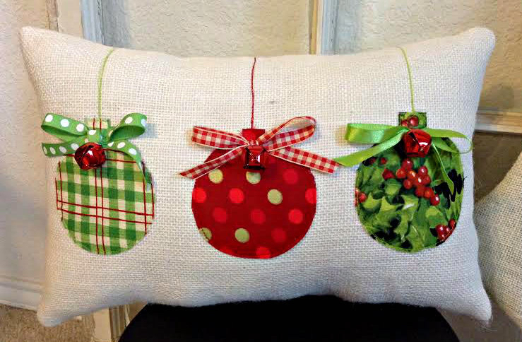 Christmas Pillow, Burlap Christmas Pillow, Fabric Christmas Ornaments Pillow, Jingle Bell Christmas Pillow, Holiday Xmas gift by