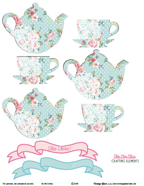 Shabby Chic Tea for Two Crafting Elements   Free Printable Download