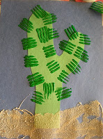 """Cute! Cactuses with fork spines and sand glued on – this would be good for a """"cowboy"""" or """"Wild West"""" Storytime!"""