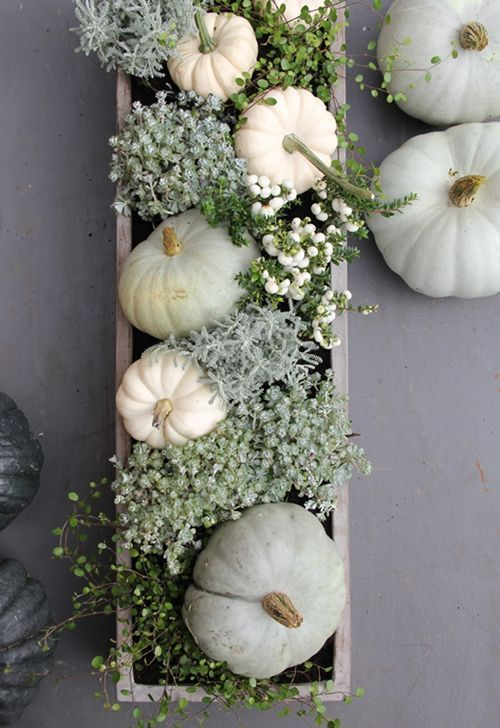 box centerpiece with white pumpkins, greenery and flowers #chic_autumn_decor