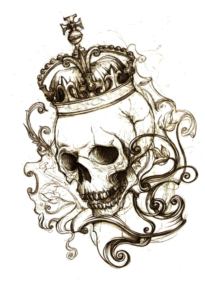 """""""No place.""""  by ~Monochrome-Clown –  Traditional Art / Drawings / Macabre & Horror (skull crown tattoo)"""