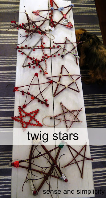 Christmas Craft Party – stars made from twigs and sticks and decorated with beads and ribbon. Perfect Frugal DiY Christmas tree
