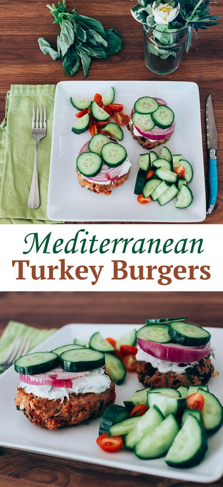 Mediterranean Turkey Burgers — Topped with crunchy veggies and a tangy yogurt sauce, these high-protein turkey burger patties