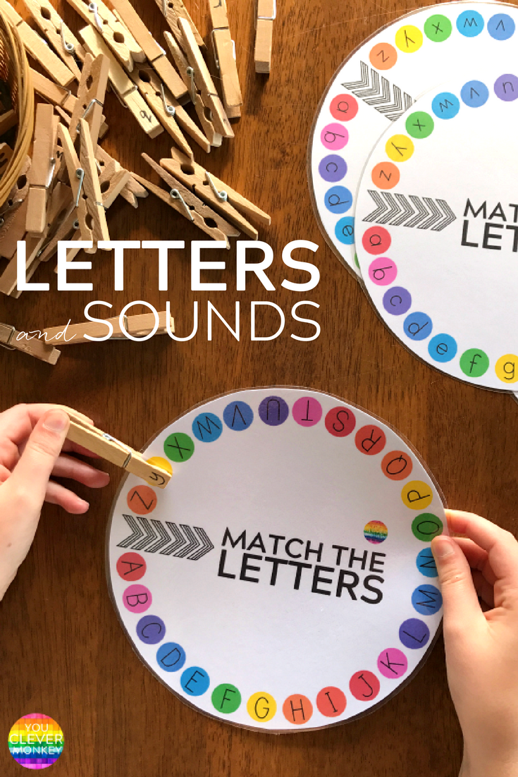 Letter and Initial Sound Printable Wheels – just print and add clothe pegs! Perfect for building up fine motor skills while