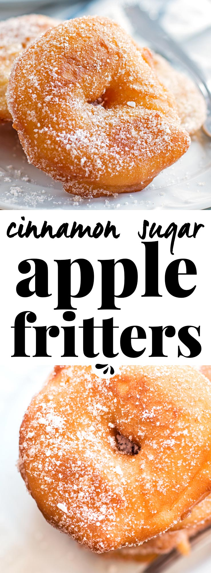 Are you looking for an easy apple fritter recipe? These are SO good! They look like fried apple donuts – the homemade batter turns