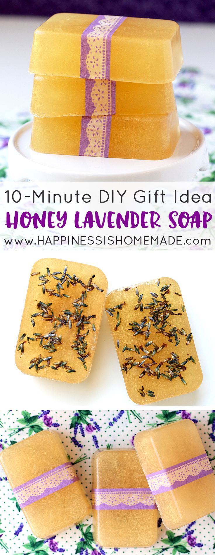 This Honey Lavender Soap smells amazing, and you can whip up a batch in just a few minutes! Makes a great DIY homemade holiday