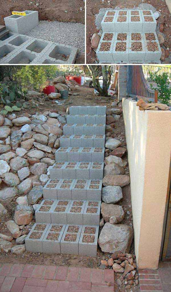 The Best 23 DIY Ideas to Make Garden Stairs and Steps. – Build outdoor steps with cinder blocks, then fill in the holes with small