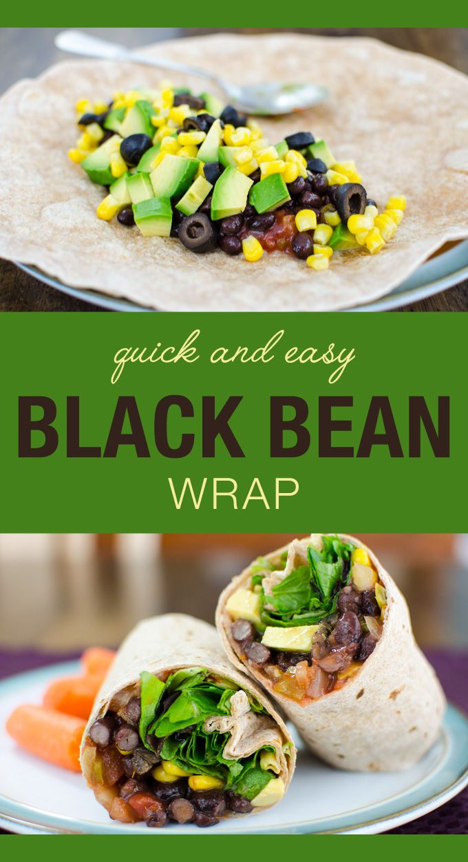 Quick and Easy Black Bean Wrap – vegan and gluten free – sure to become one of your favorite lunch sandwich recipes! |