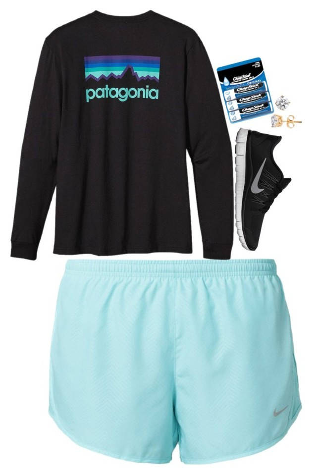 """""""not feeling cute clothes"""" by brooklm ❤ liked on Polyvore featuring NIKE, Patagonia, Chapstick, womens clothing, womens fashion,"""