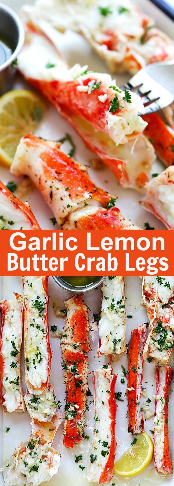 Garlic Lemon Butter Crab Legs – crazy delicious king crab legs in garlic herb and lemon butter. This crab legs recipe is so good