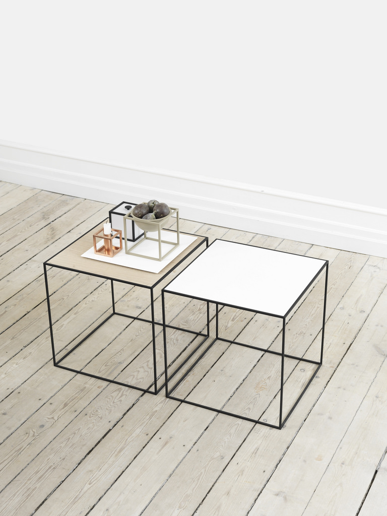 Mogens Lassen's preferred form was the square and stringent shape of the cube, and it is the source of the accent table Twin. It