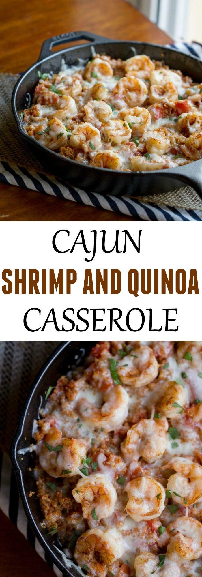 Super simple dinner recipe – Cajun Shrimp and Quinoa Casserole.
